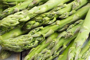 asparagus on white table close-up