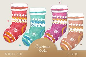 Christmas Socks Watercolor