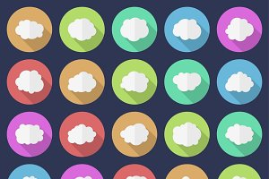 Set of 25 cloud icons.