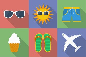 Set of icons of Summer travel theme.