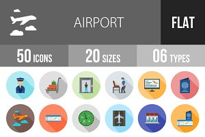 50 Airport Flat Shadowed Icons
