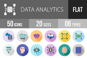 50 Analytics Flat Shadowed Icons