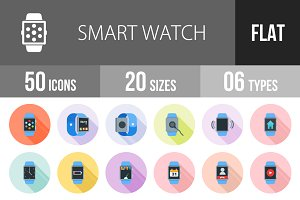 50 Smart Watch Flat Shadowed Icons