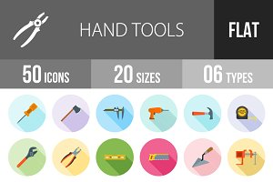 50 Hand Tools Flat Shadowed Icons