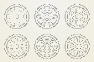 Set of 9 icons of a car rims.