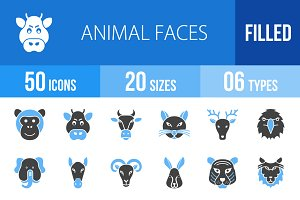 50 Animal Faces Blue & Black Icons