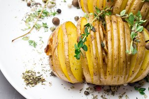 potato with herbs on plate