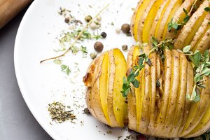 potato with thyme on plate