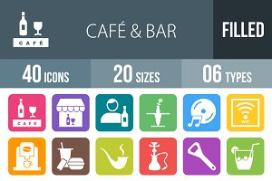 40 Cafe&Bar Flat Round Corner Icons