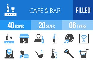 40 Cafe & Bar Blue & Black Icons