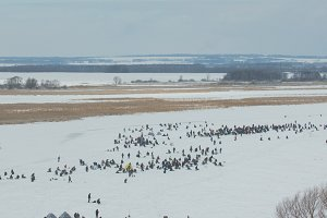 Winter fishing - crowd of People at ice frozen river