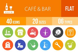40 Cafe & Bar Flat Round Icons