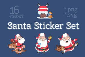 Santa Sticker Set