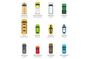 Automobiles Vector Collection with Names on White