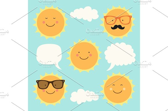 Cute Characters Of Sun And Speech Bubble