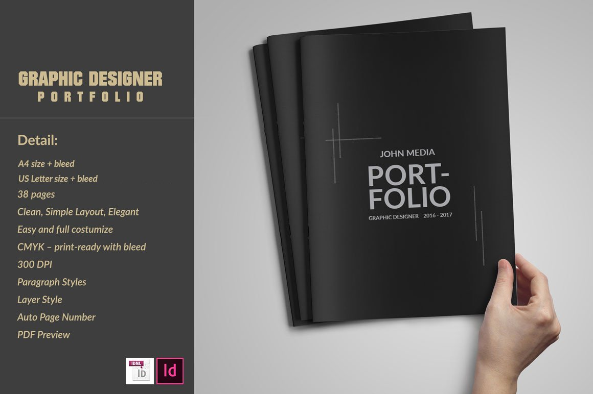 graphic designer portfolio template brochure templates creative market. Black Bedroom Furniture Sets. Home Design Ideas