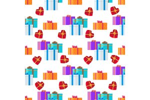 Adorned Festive Present Boxes Seamless Pattern