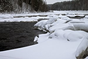 Fast ice-free river in winter.