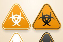 Set of triangular Biohazard signs