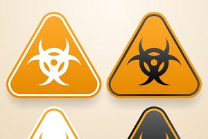 Set of triangular Biohazard signs
