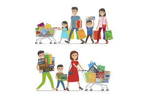 Two Walking and Smiling Families with Purchases