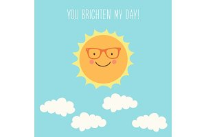 Cute hand drawn smiling cartoon character of Sun with hand written text