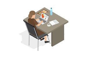 Businesswoman at Laptop Isolated Illustration