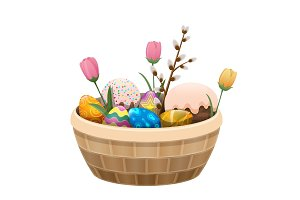 Basket of Easter Attributes Isolated Illustration