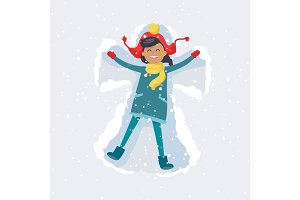 Happy Girl Makes Snow Angel. Winter Illustration