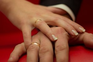 Bridal concept - Hands of man and woman with wedding ring