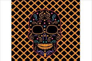 Skull vector neon orange