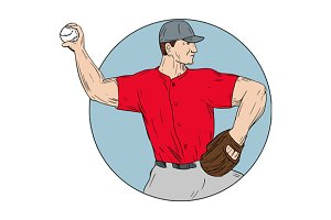 American Baseball Pitcher Throwing