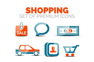 Set of vector glossy shopping icons