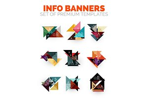 Set of vector triangle paper geometrical info banners