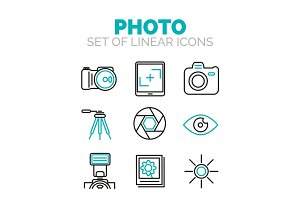 Set of vector photography icons