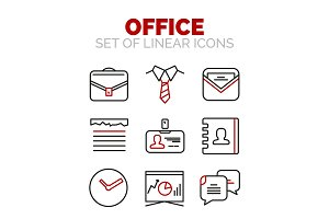 Set of vector office or business icons