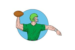 Quarterback QB Throwing Ball