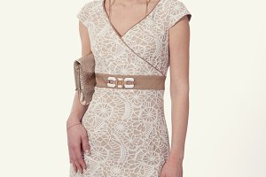 blond business woman in retro sleeveles lace dress