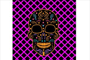 Skull vector neon purple