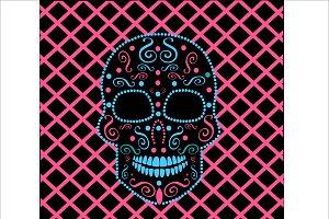 Skull vector neon pink