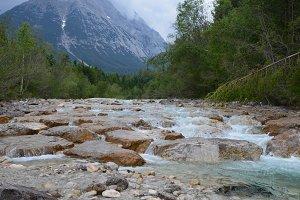 River waterfall at leutasch austria