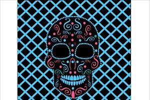 Skull vector neon blue
