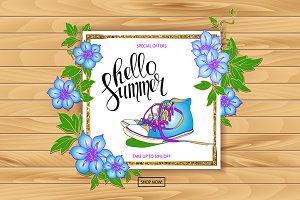 Summer discount banner sneakers