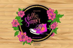 Summer discount banner set.