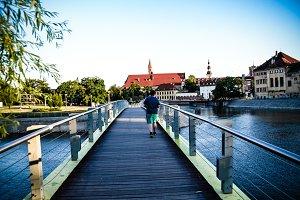 Man walking on the Bridge