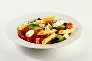 Closeup of tasty italian salad pasta