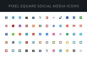 Social Media Pixel Square Icons