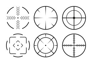 Set of 9 black crosshair icons.