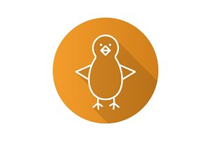 Chicken flat linear long shadow icon