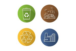 Waste management flat linear long shadow icons set